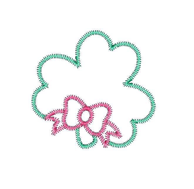 Shamrock Bow Zig Zag Stitch Applique Design