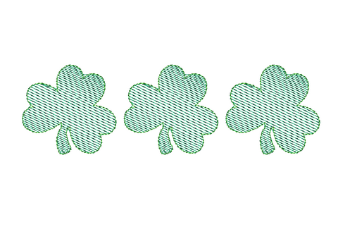 Shamrock Trio Sketch Stitch Embroidery Design