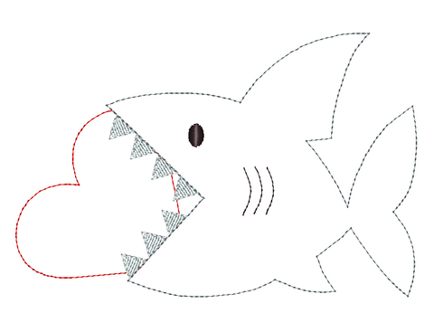 Shark Heart Bean Stitch Applique Design