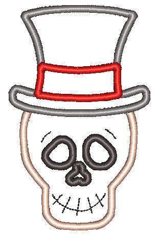 Skeleton Hat Applique Design - Hug A Bug Applique Designs