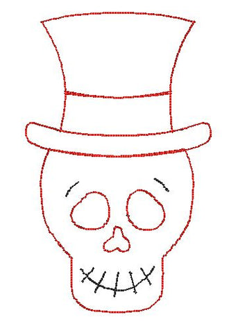 Skeleton Hat Bean Stitch Applique Design