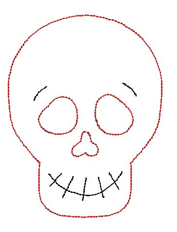 Skeleton Smile Bean Stitch Applique Design