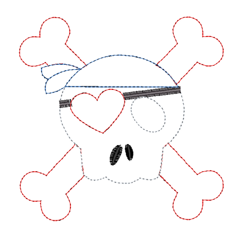 Skull Pirate Heart Bean Stitch Applique Design
