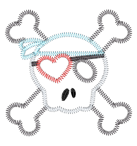 Skull Pirate Heart Zig Zag Stitch Applique Design