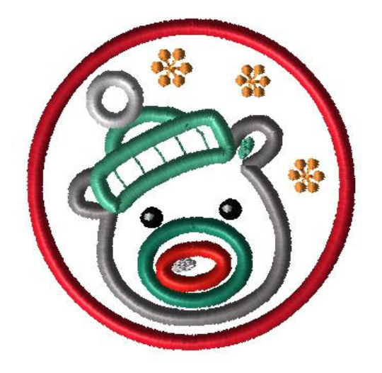 Snow Bear Circle Applique Design - Hug A Bug Applique Designs