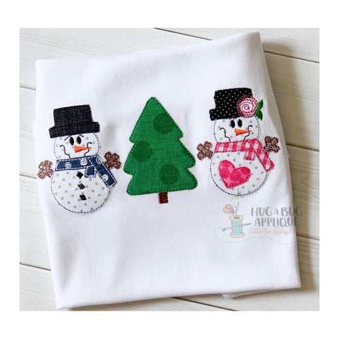 Snowman Tree Snowgirl Trio Bean Stitch Applique Design