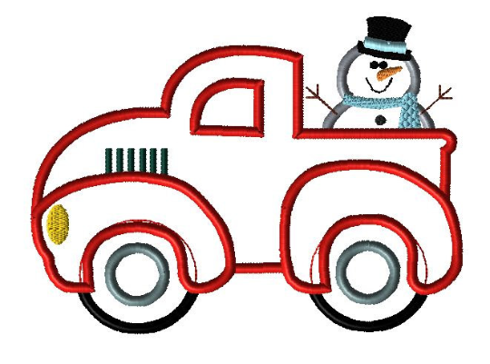 Vintage Truck Snowman Applique Design - Hug A Bug Applique Designs