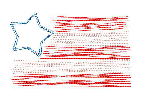 Star Flag Scribble Embroidery Design