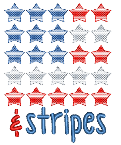 Stars and Stripes Embroidery Design - Hug A Bug Applique Designs