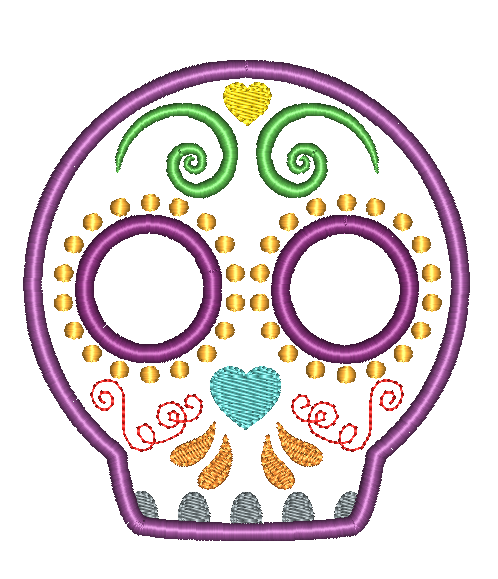 Sugar Skull 2 Applique Design - Hug A Bug Applique Designs