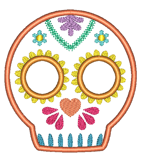 Sugar Skull 3 Applique Design - Hug A Bug Applique Designs