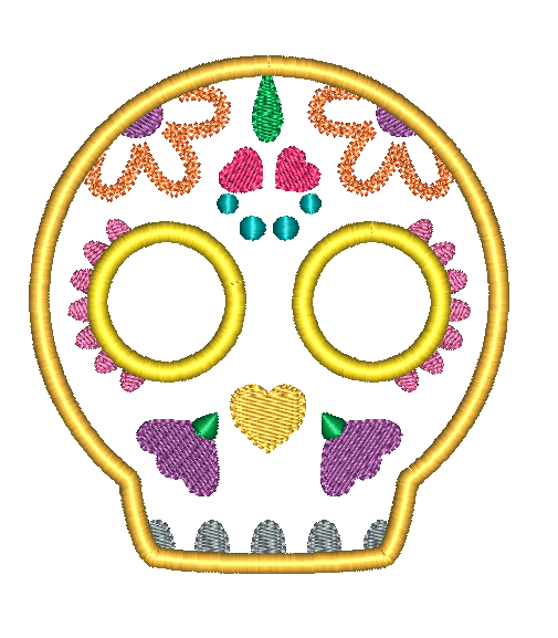 Sugar Skull 4 Applique Design - Hug A Bug Applique Designs