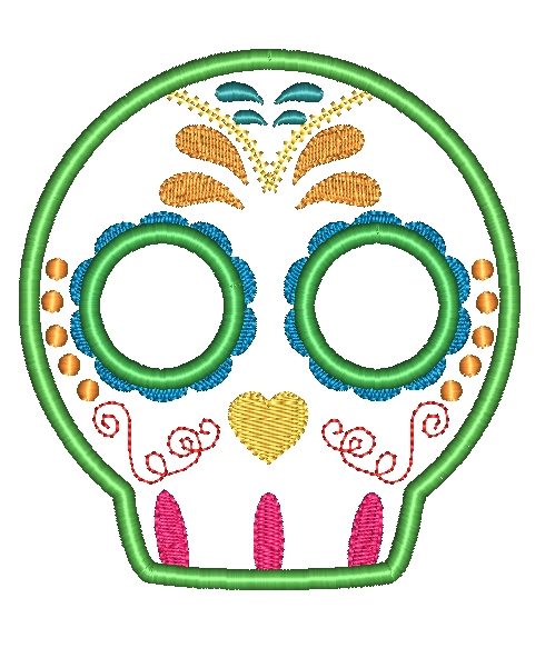 Sugar Skull 5 Applique Design - Hug A Bug Applique Designs