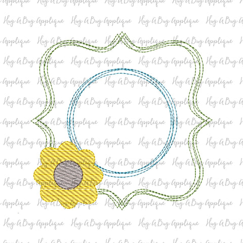 Sunflower Sketch Scribble Frame Embroidery Design