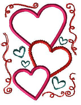 Three Hearts Applique Design - Hug A Bug Applique Designs