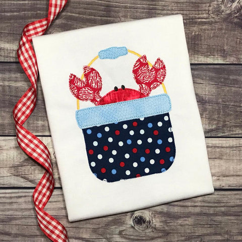 Crab Bucket Bean Stitch Applique Design