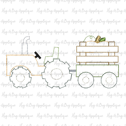 Tractor Pumpkin Bean Stitch Applique Design