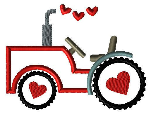 Tractor Hearts Applique Design - Hug A Bug Applique Designs