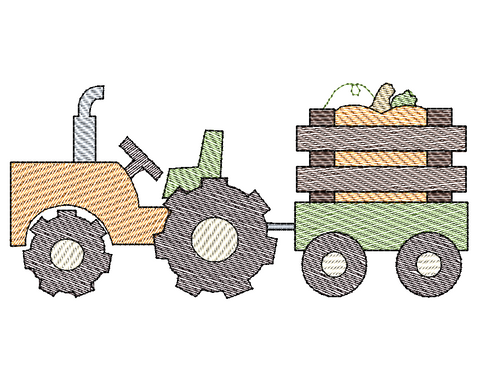 Tractor Pumpkin Sketch Embroidery Design