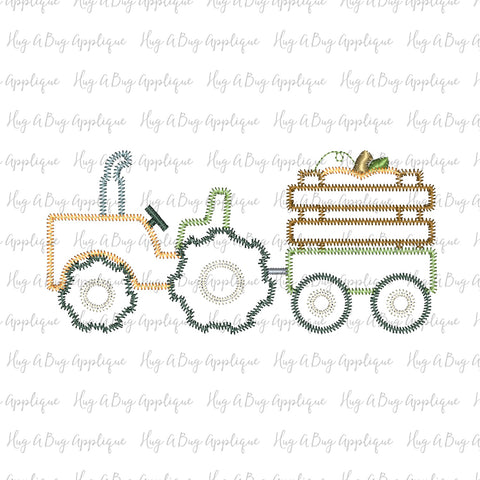 Tractor Pumpkin Zig Zag Stitch Applique Design