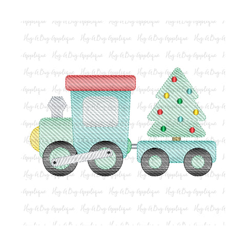 Christmas Train Sketch Stitch Embroidery Design