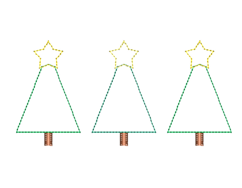 Trees Stars Trio Bean Stitch Applique Design