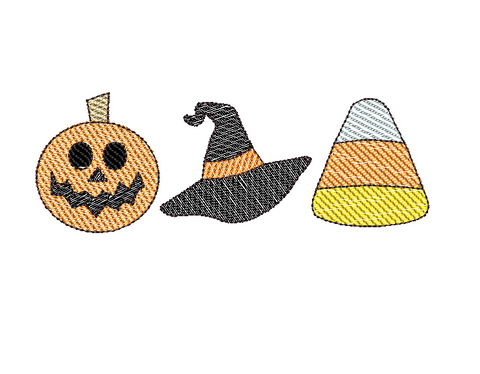 Halloween Trio Sketch Embroidery Design - Hug A Bug Applique Designs