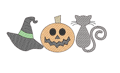 Witch Hat Pumpkin Cat Trio Sketch Embroidery Design
