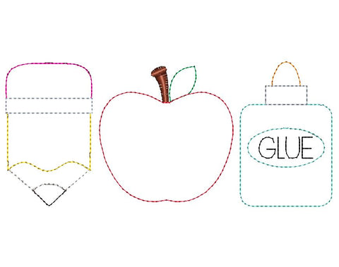 Pencil Apple Glue Trio Bean Stitch Applique Design