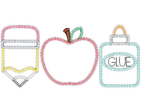 Pencil Apple Glue Trio Zig Zag Stitch Applique Design