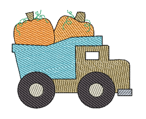 Dump Truck Pumpkins Sketch Embroidery Design