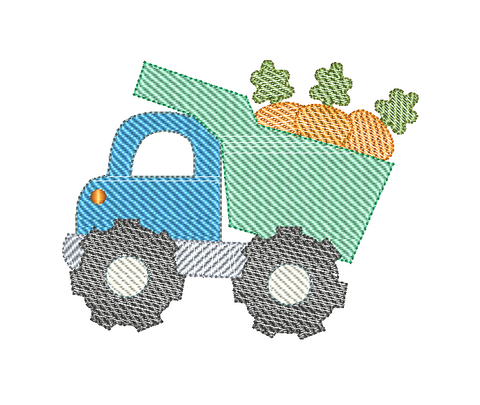 Dump Truck Carrots Sketch Embroidery Design