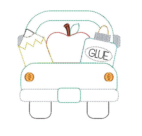 School Supplies Truck Bean Stitch Applique Design