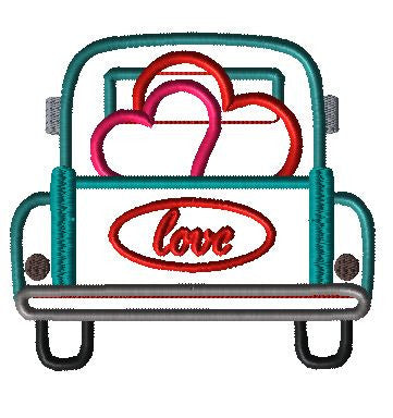 Truck Back Hearts Applique Design - Hug A Bug Applique Designs