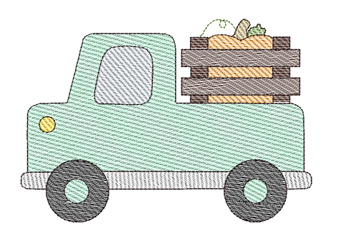 Cute Truck Pumpkin Sketch Embroidery Design