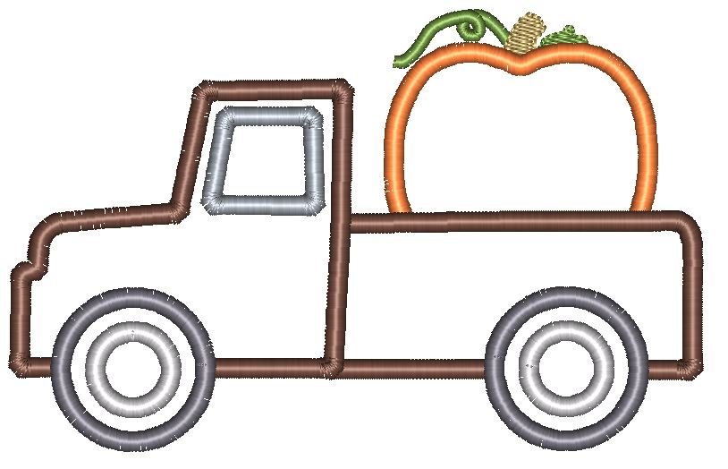 Simple Truck Pumpkin Applique Design - Hug A Bug Applique Designs