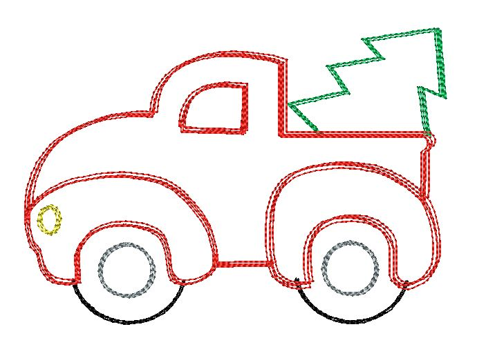Truck Christmas Tree Sketch Embroidery Design - Hug A Bug Applique Designs