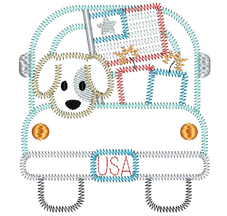 Truck Dog Flag Zig Zag Stitch Applique Design