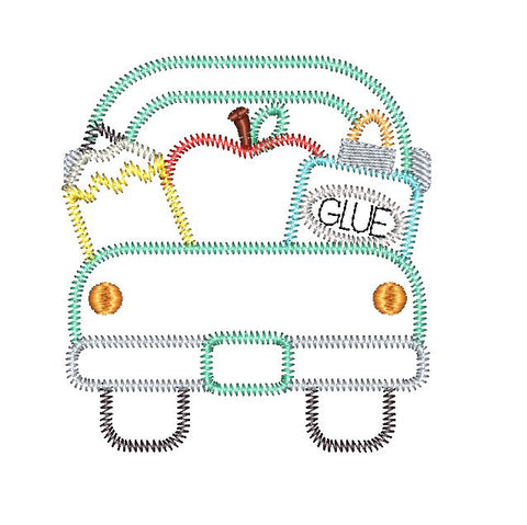 School Supplies Truck Zig Zag Stitch Applique Design