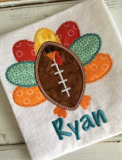Turkey Football Applique Design - Hug A Bug Applique Designs