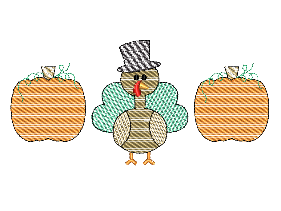 Pumpkin Turkey Trio Sketch - Hug A Bug Applique Designs