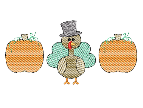 Pumpkin Turkey Trio Sketch