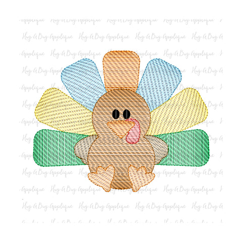 Cute Turkey Sketch Stitch Embroidery Design