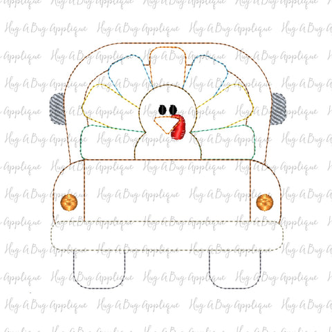 Turkey Truck Bean Stitch Applique Design