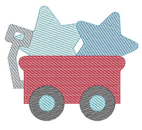 Wagon Stars Sketch Stitch Embroidery Design