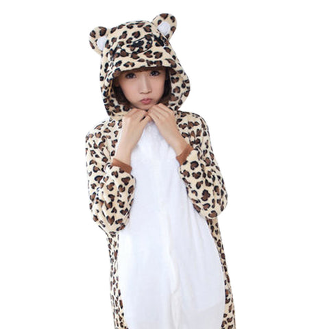 Leopard Flannel Hooded Onesies Sleepwear For Women
