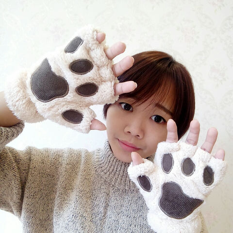 Cute Paw Gloves Winter Warm Knitted