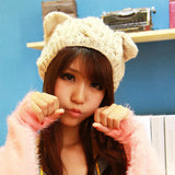 Cute Cat Ears Design women's knitted hats