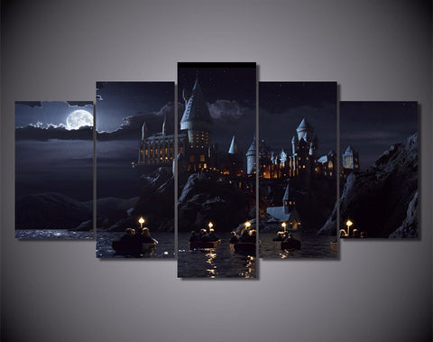 5Pieces Wall Canvas Prints Harry Potter Hogwarts School