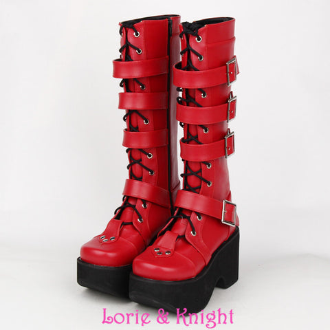 Thick Platform Punk Goth Boots Women Leather Buckle Straps Red and Black